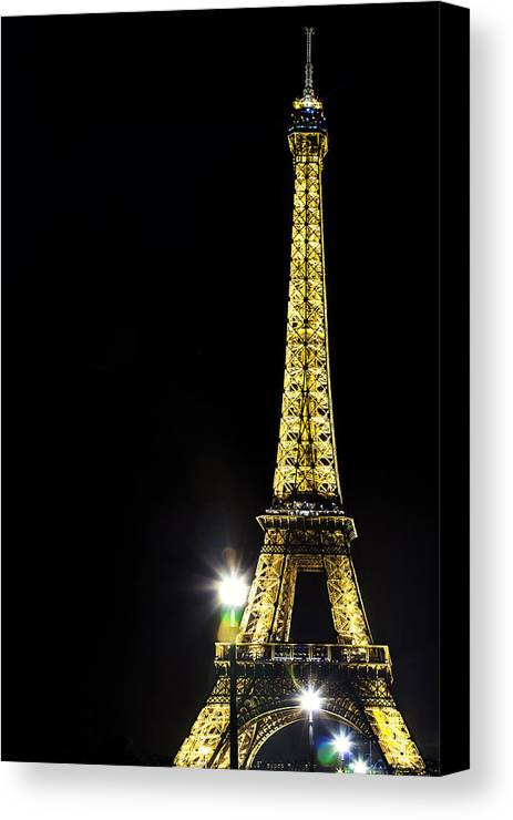 Paris Canvas Print featuring the photograph Eiffel At Night by Andrew Soundarajan