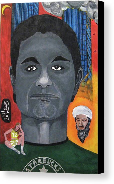 Mohamed Canvas Print featuring the painting Mohamed Atta by Darren Stein