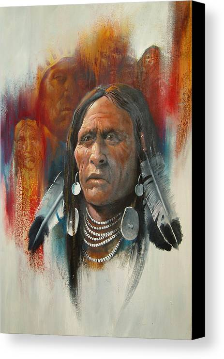 Oil Canvas Print featuring the painting Plainsman by Robert Carver