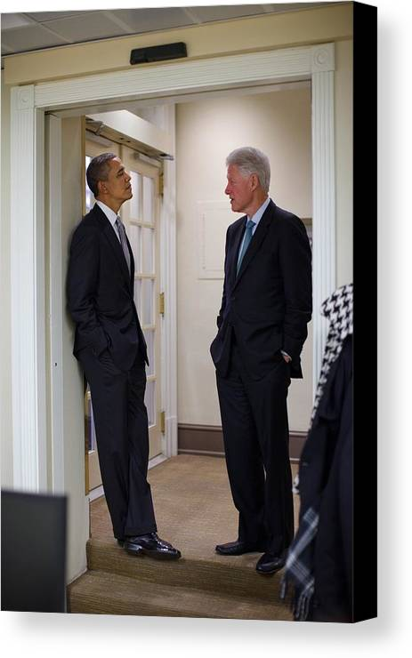 History Canvas Print featuring the photograph President Obama Talks With Former by Everett