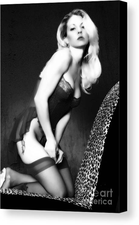 Clay Canvas Print featuring the pyrography Retro Pinup by Clayton Bruster