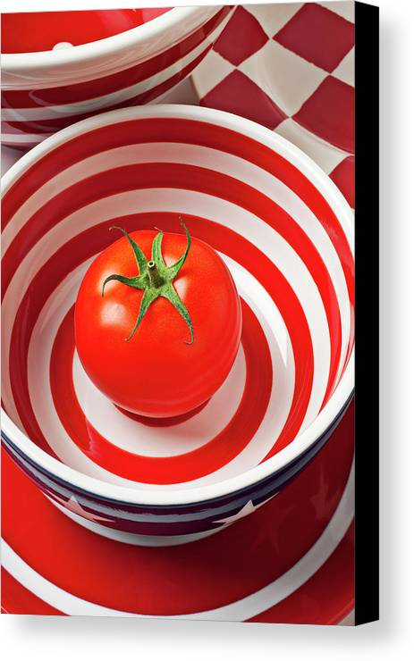 Tomato Canvas Print featuring the photograph Tomato In Red And White Bowl by Garry Gay