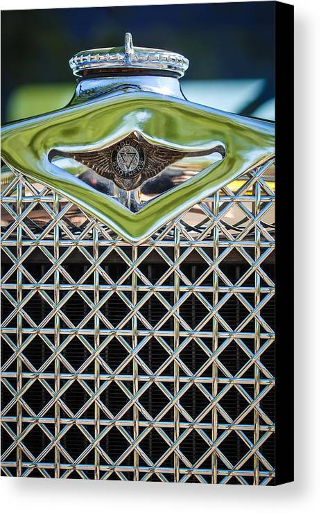 1930 Dodge Grille Emblem Canvas Print featuring the photograph 1930 Db Dodge Brothers Hood Ornament And Grille by Jill Reger