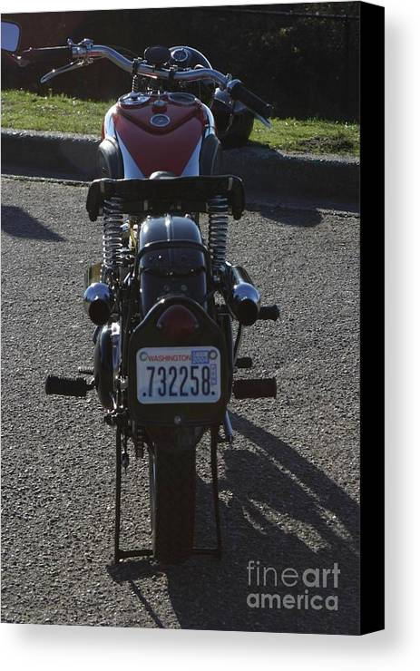 Ariel Canvas Print featuring the photograph 1934 Ariel Motorcycle Rear View by Robert Torkomian