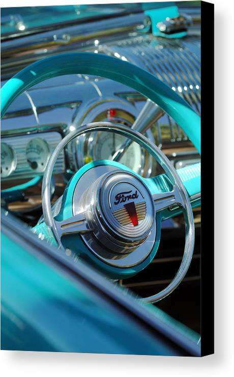 Car Canvas Print featuring the photograph 1947 Ford Deluxe Convertible Steering Wheel by Jill Reger