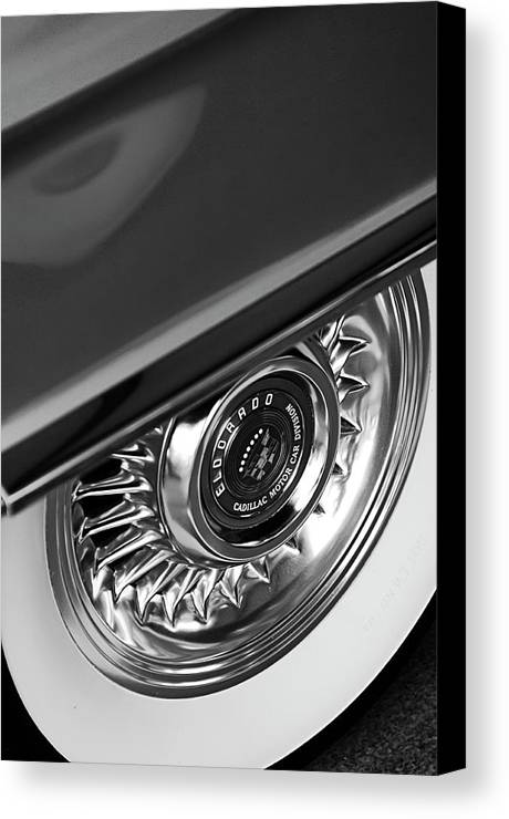 Car Canvas Print featuring the photograph 1956 Cadillac Eldorado Wheel Black And White by Jill Reger