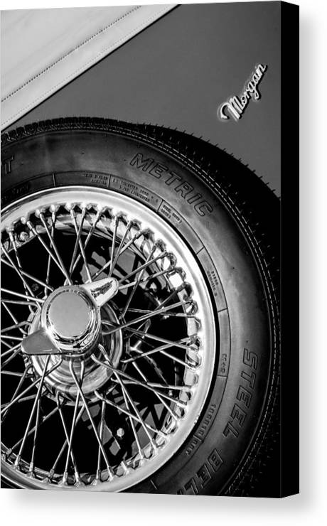 1964 Morgan 44 Spare Tire Emblem Canvas Print featuring the photograph 1964 Morgan 44 Spare Tire Black And White by Jill Reger