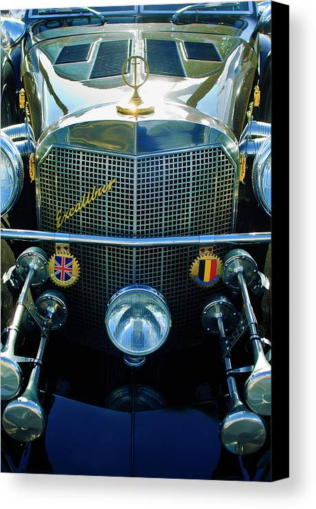 1984 Excalibur Roadster Canvas Print featuring the photograph 1984 Excalibur Roadster Grille by Jill Reger