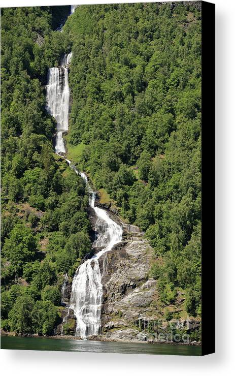 Waterfall Canvas Print featuring the photograph Waterfall In Geiranger Norway by Arild Lilleboe