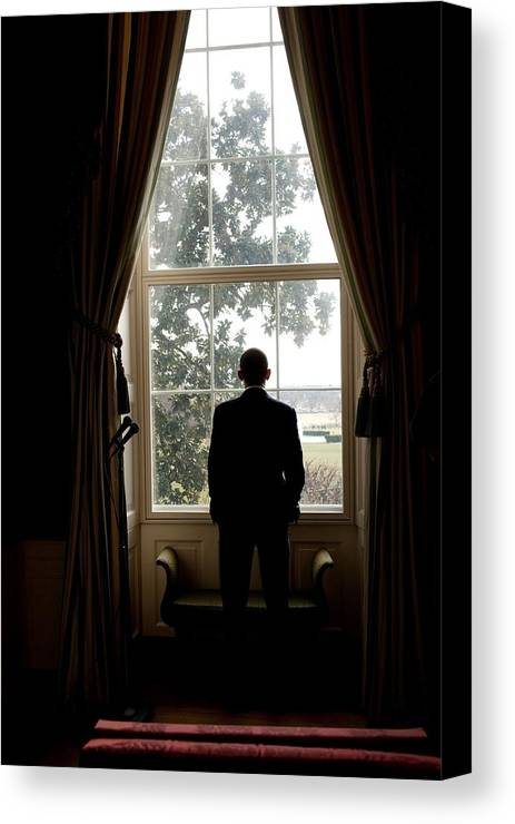 History Canvas Print featuring the photograph President Barack Obama Looks by Everett