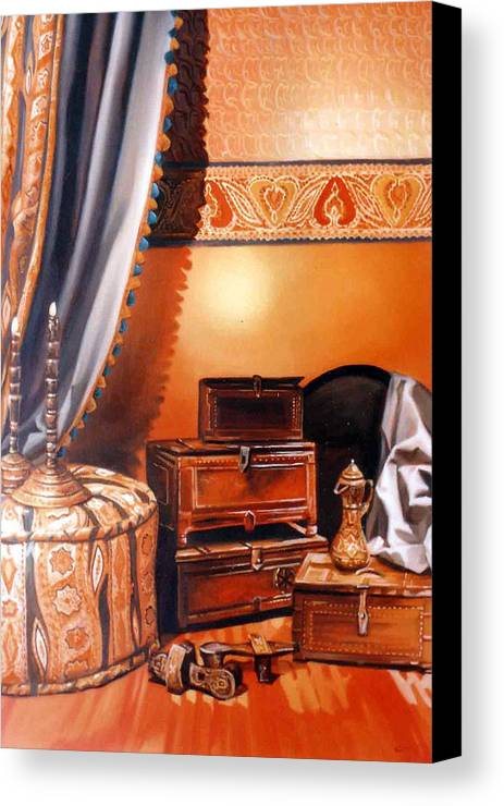 Oil Canvas Print featuring the painting Still Life by Chonkhet Phanwichien