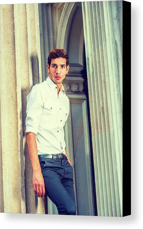 Young Canvas Print featuring the photograph Portrait Of Young American Businessman. by Alexander Image