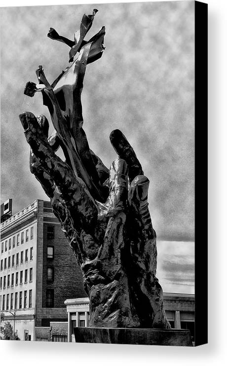 911 Canvas Print featuring the photograph 911 Memorial - Norristown by Bill Cannon