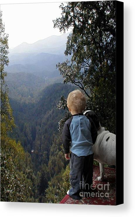 Boy Canvas Print featuring the photograph A Boy And His Dog by Robert Meanor