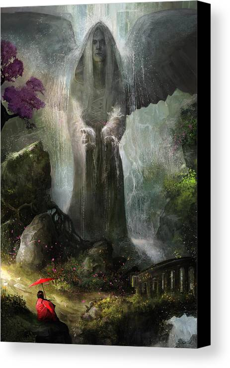 Angel Canvas Print featuring the painting A Place To Ponder by Steve Goad