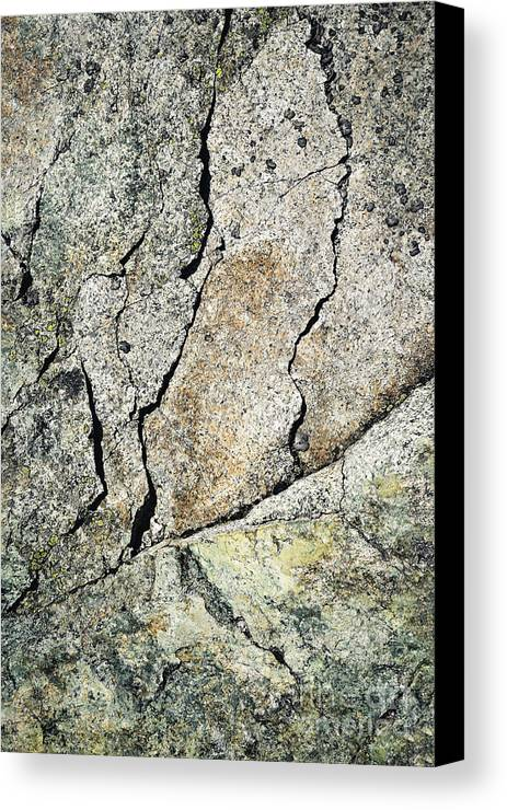 Mineral Canvas Print featuring the photograph Abstract Cracks On A Granite Block Of Stone by Jozef Jankola
