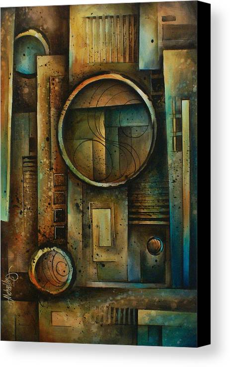 Abstract Design Geometric Shapes Cubism Green Blue Earth Tones Steps Canvas Print featuring the painting Abstract Design 64 by Michael Lang