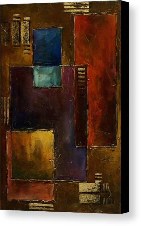 Textured Surface Basic Cubism Geometric Design Canvas Print featuring the painting Abstract Design 65 by Michael Lang