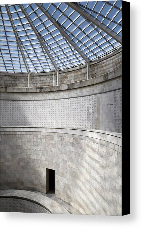Central Canvas Print featuring the photograph Abstract View Of The Central Tower Door With Skylight And Names by Reimar Gaertner