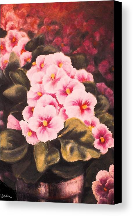 African Violets Canvas Print featuring the painting African Violets by Jordana Sands