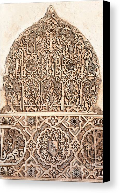 Alhambra Canvas Print featuring the photograph Alhambra Wall Panel Detail by Jane Rix
