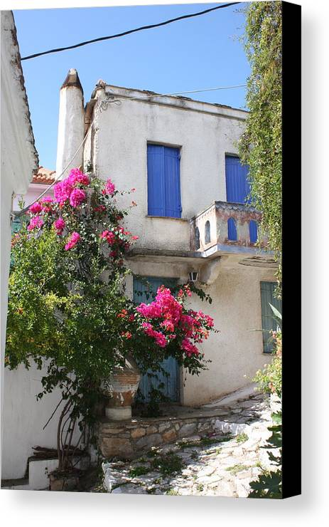 Greece Canvas Print featuring the photograph Allonnissos Old Town 01 by Yvonne Ayoub