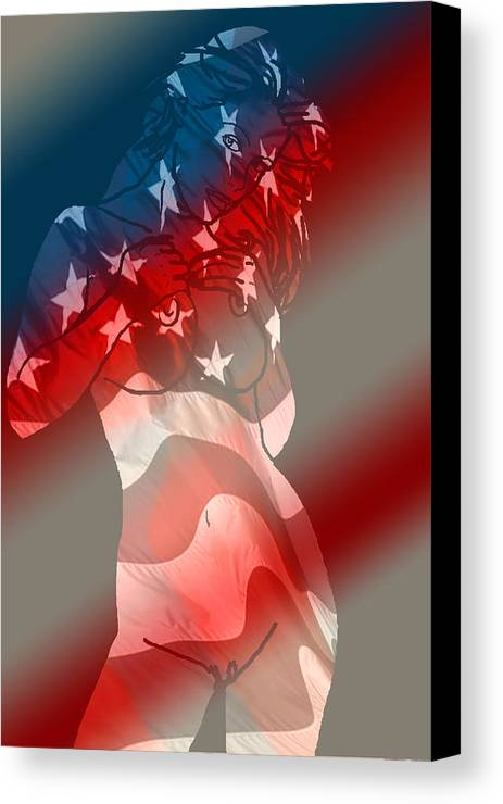 Nude Art Canvas Print featuring the painting America by Tbone Oliver