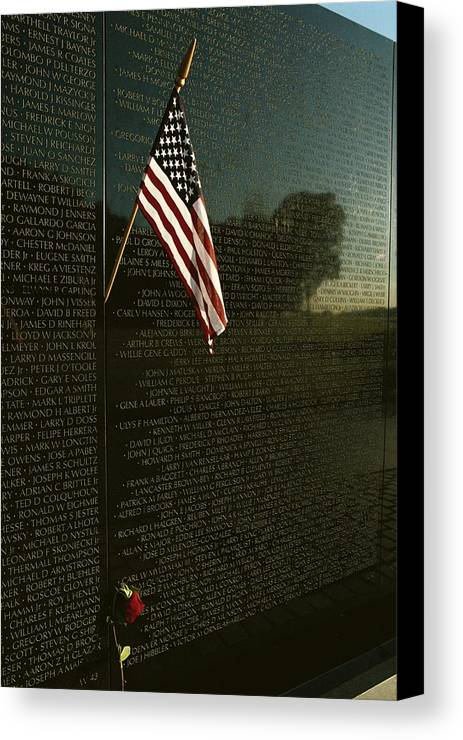 american National Flag Canvas Print featuring the photograph American Flag Left At The Vietnam by Medford Taylor