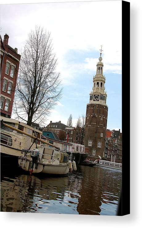 Water Canal Amsterdam Building Tree Boats Canvas Print featuring the photograph Amsterdam Waterviev by Lucrecia Cuervo