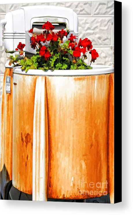 Washing Canvas Print featuring the photograph Antique Speed Queen Washing Machine by Kathleen K Parker