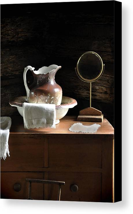 Old Carafe Canvas Print featuring the photograph Antique Water Pitcher On Bureau by Rebecca Brittain