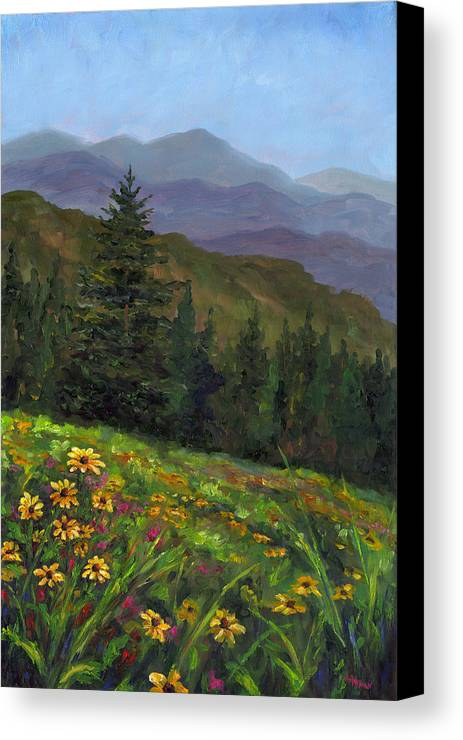 Wildflowers On The Mountain Hillside Of Blue Ridge Mountains Of Western North Carolina Near Ashevill Canvas Print featuring the painting Appalachian Color by Jeff Pittman