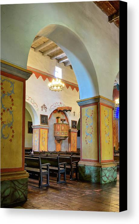Landscape Canvas Print featuring the photograph Arch In San Juan Bautista Mission by Javier Flores