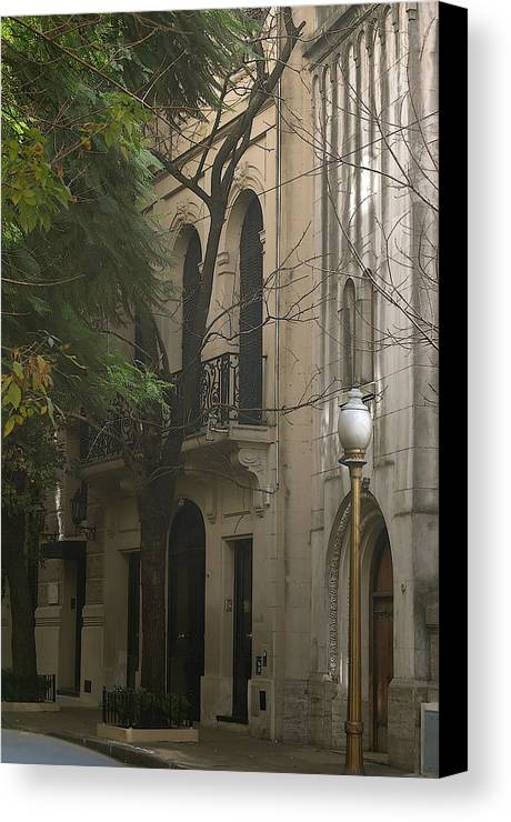 Street Lamp Building Tree Canvas Print featuring the photograph Argentinian Street Lamp by Lucrecia Cuervo
