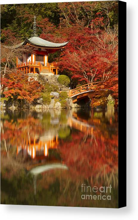 Temple Canvas Print featuring the photograph Autumn Colours At Daigo-ji Temple In Kyoto In Japan by Sara Winter