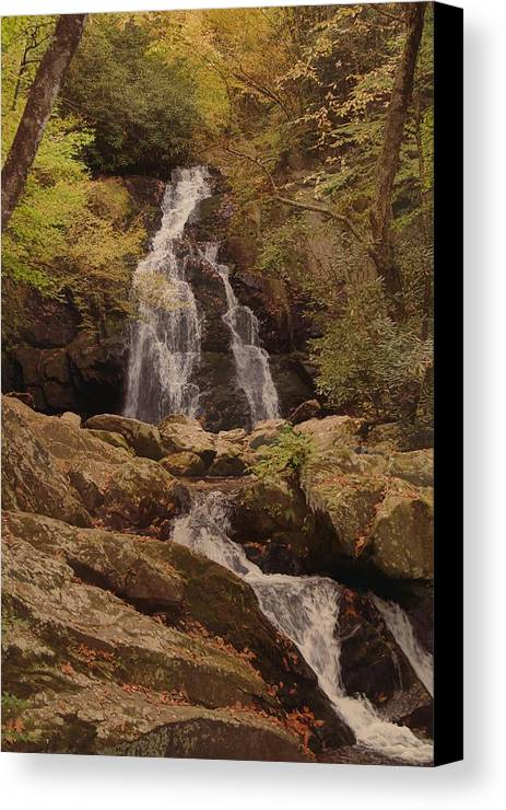 Autumn Waterfall In The Great Smoky Mountains Canvas Print featuring the photograph Autumn Waterfall In The Great Smoky Mountains by Dan Sproul