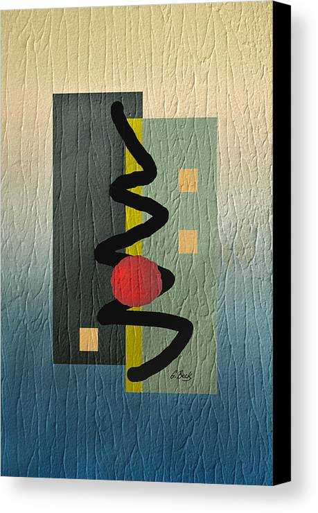 Red Ball Gradient Tones Blue Yellow Gray Energetic Geometric Abstract Textured Design Modern Contemporary Vibrant Colorful Urban Loft Decor Mood Elevation G. Canvas Print featuring the digital art Awake by Gordon Beck