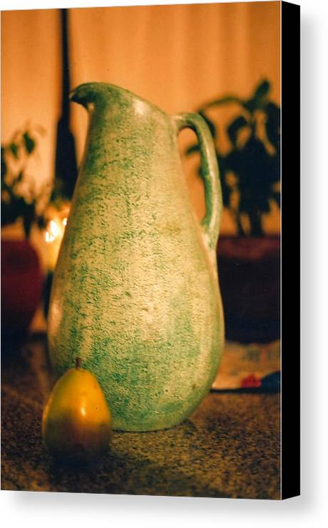Still Life Canvas Print featuring the photograph Bali Pitcher And Pear by Heather S Huston