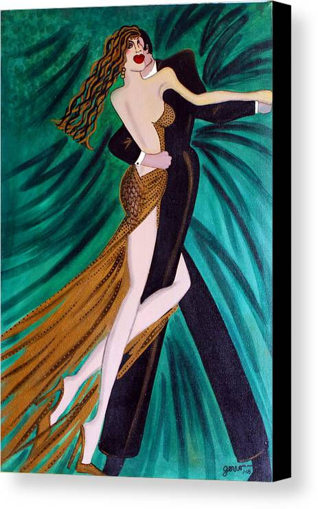 Ballroom Dancers Canvas Print featuring the painting Ballroom Dancers Champagne Tango by Helen Gerro