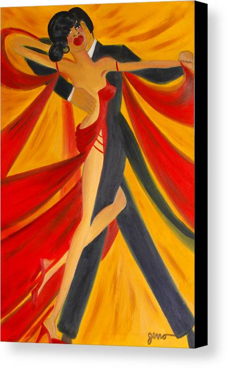 Ballroom Dancing Canvas Print featuring the painting Ballroom Dancing Tango by Helen Gerro