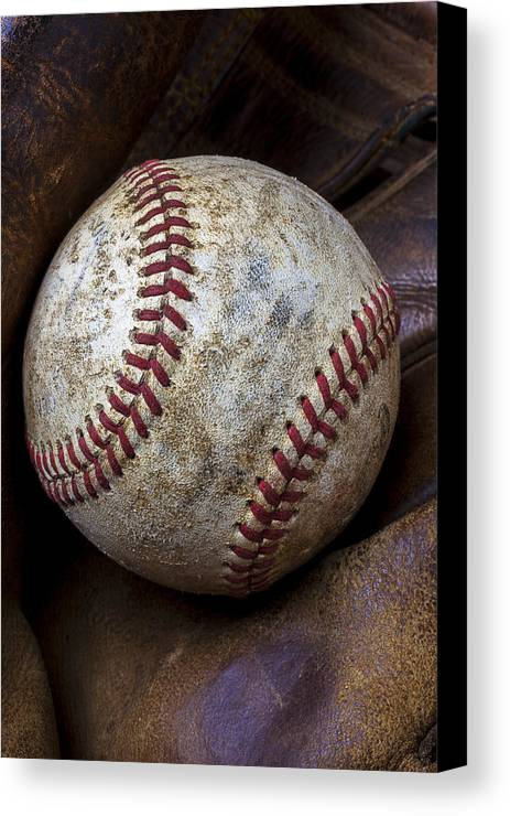 Old Mitt Canvas Print featuring the photograph Baseball Close Up by Garry Gay