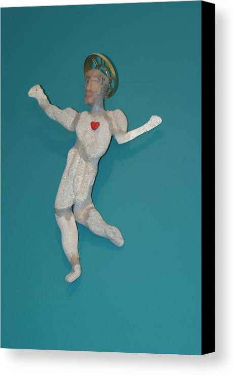 Recycle Canvas Print featuring the sculpture Beach Christ by Michael Jude Russo