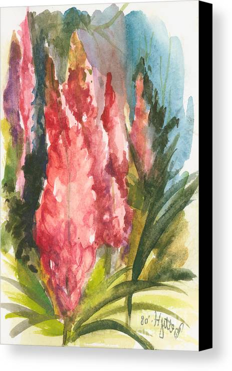 Flowers Canvas Print featuring the painting Beauties - Note Card by Elisabeta Hermann