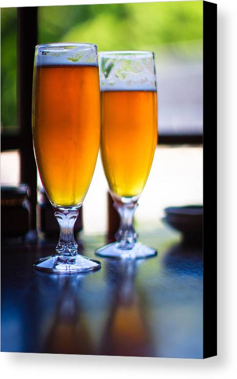 Vertical Canvas Print featuring the photograph Beer Glass by Sakura_chihaya+