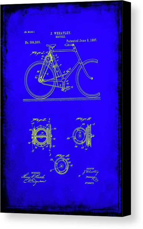 Patent Canvas Print featuring the mixed media Bicycle Patent Drawing 4b by Brian Reaves