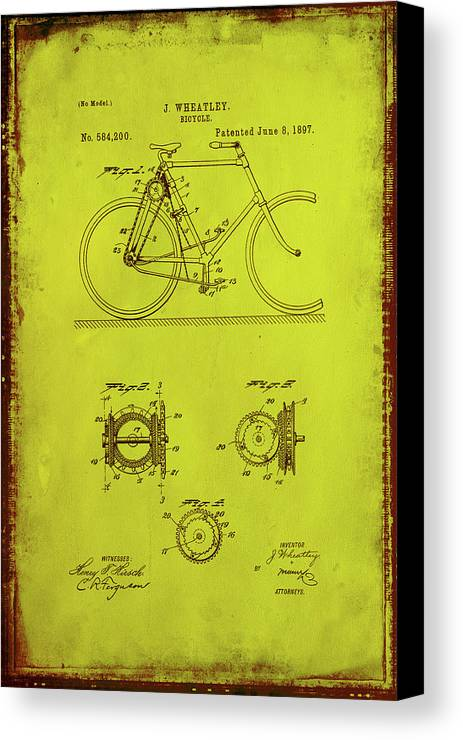 Patent Canvas Print featuring the mixed media Bicycle Patent Drawing 4d by Brian Reaves