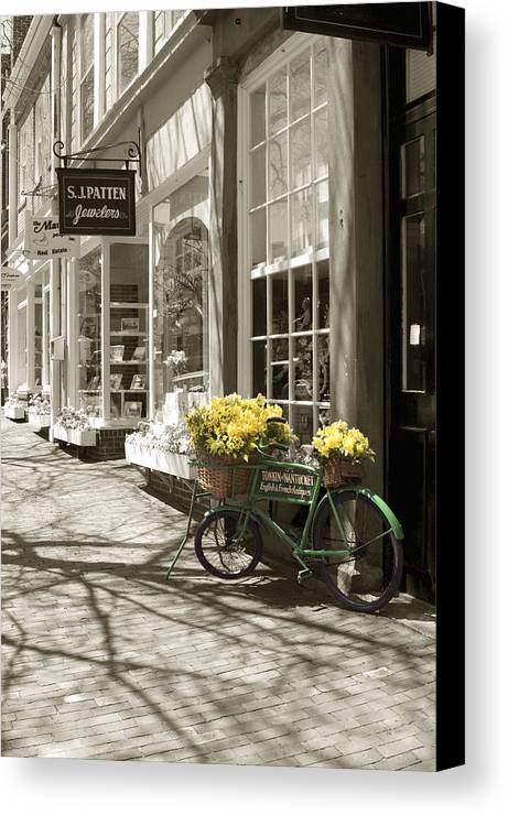 Floral Canvas Print featuring the photograph Bicycle With Flowers - Nantucket by Henry Krauzyk