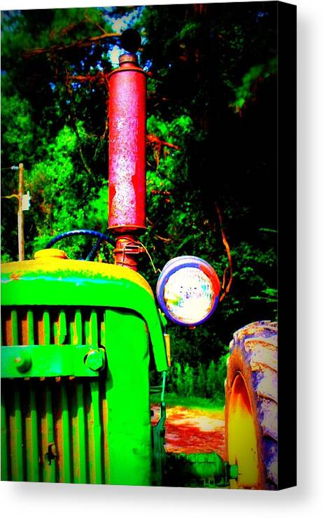 Old Canvas Print featuring the photograph Big Green Tractor 2 by Jill Tennison