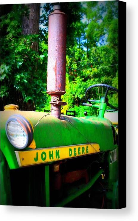 John Deere Canvas Print featuring the photograph Big Green Tractor by Jill Tennison