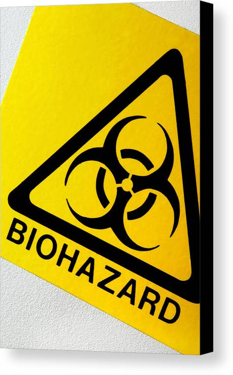 Label Canvas Print featuring the photograph Biohazard Symbol by Tim Vernon, Nhs Trust